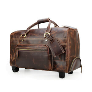 Mens Leather Rolling Wheeled Duffle Trolley Drawbar Bag Travel Luggage Case Tote