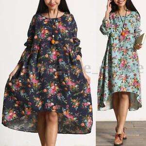 ebef5d394b S-5XL ZANZEA Women's Round Neck Long Sleeve Vintage Floral Print ...