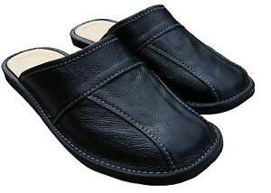 Mens Leather Slippers Shoes, Sandals, Slip On Mules, Black Size 6-11 Uk