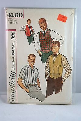 4160 SIMPLICITY SEWING Pattern Men and Men's Shirt, Vest, and Reversible Vest