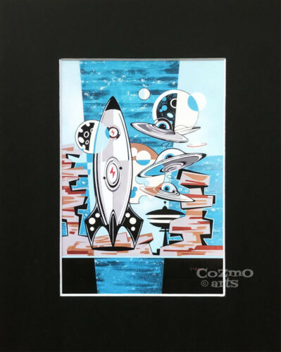 COZMO LUNA RETRO PRINT JETSONS OUTER SPACE MID CENTURY MODERN ROCKET UFO 60/'S