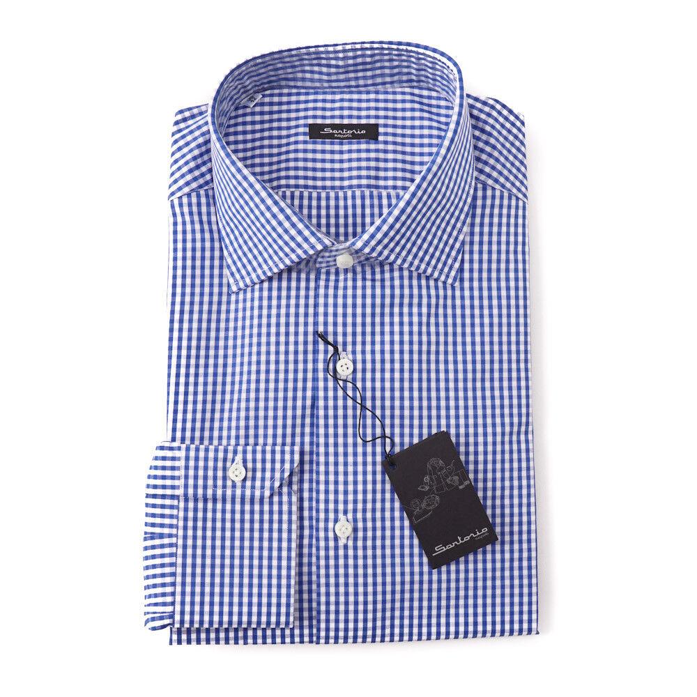 NWT  395 SARTORIO NAPOLI Medium Blau Gingham Check Dress hemd 18 x 37 Slim-Fit