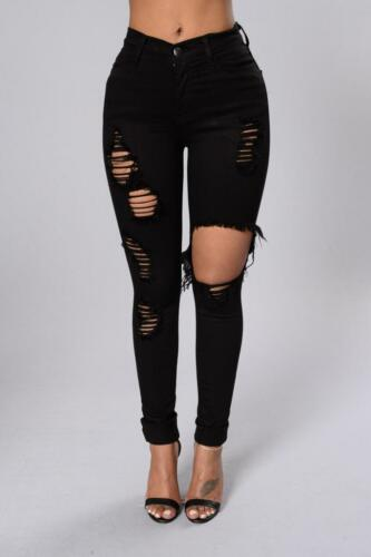 WOMENS HIGH WAISTED RIPPED KNEE RIP STRETCH JEANS QUALITY GIFT SKINNY 6 to 22 UK