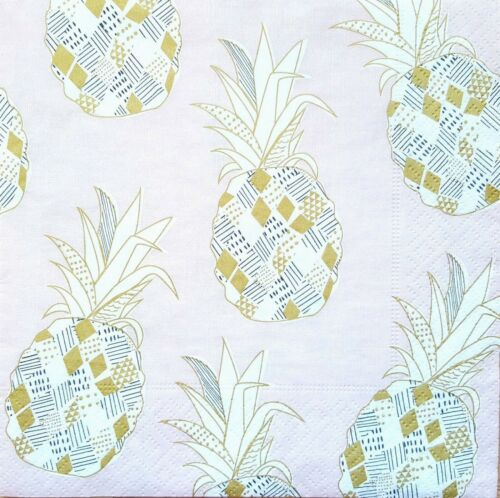 4 Lunch Paper Napkins  Decoupage Craft Vintage Napkin Pineapples Dirty Pink