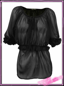 Ladies-Gypsy-Top-New-Womens-Short-Sleeved-Chiffon-Black-Blouse-Sizes-UK-8-14