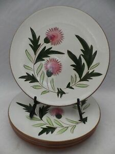 Stangl-Pottery-set-of-4-Salad-plates-Thistle-pattern-8-1-8-034-EUC