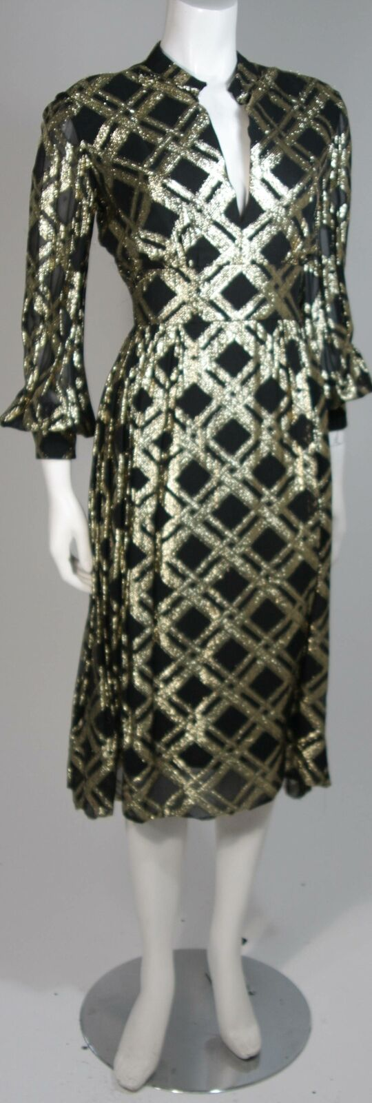 CEIL CHAPMAN Black Silk and Gold Cocktail Dress S… - image 4