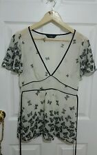 F&F Sz 8 Black Sheer White Butterfly Sleeves Tie Up Office Casual Summer Blouse