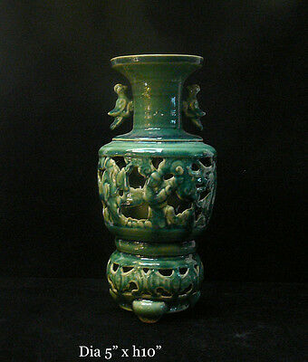Chinese Thin Ceramic Green Glaze Motif Vase cs294B