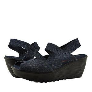 Donna-Scarpe-Bernie-Mev-fama-punta-aperta-zeppa-intrecciato-Sandalo-jeans-NUOVO
