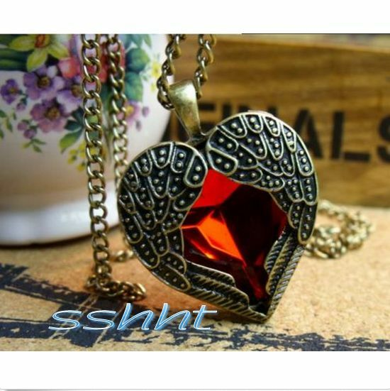 Retro Heart Red Rhinestone Angel Wing Pendant Chain Necklace as gift jewelry