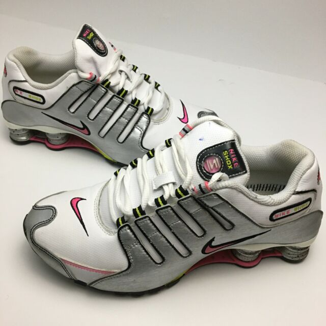 Nike Shox Running Shoes White Silver Pink Womens Size 7.5 [366571-161]