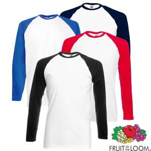 Mens Long Sleeve T-Shirts Long Sleeve Baseball T-Shirt All Sizes and Colours Clothing, Shoes & Accessories Shirts