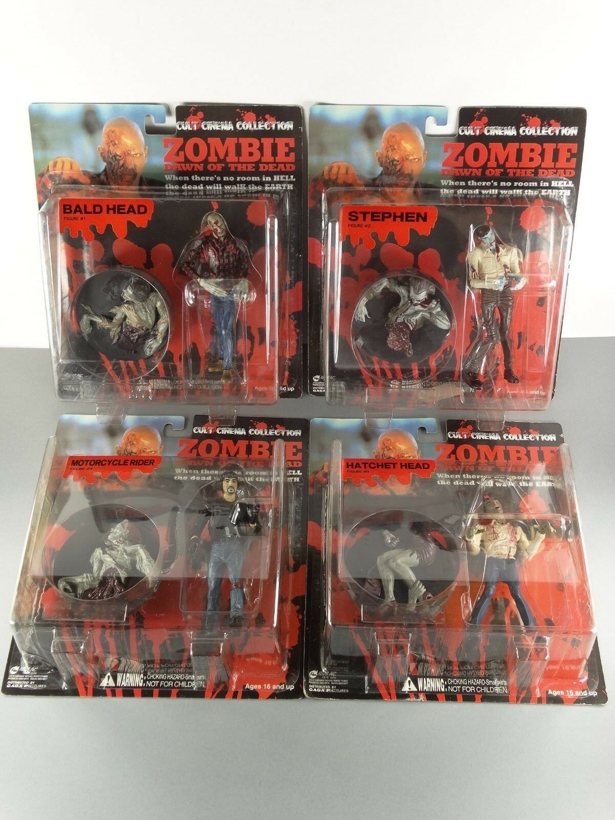 Set 4 figuras rojos inc Cult Cinema Collection zombi Dawn of the Dead OVP