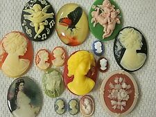 * SALE * VTG CAMEOS 3-D 40x30mm HUGE 16 LOT JEWELRY RESIN FINDINGS REPAIR CRAFTS