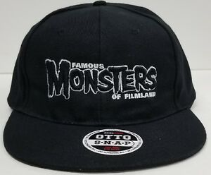 b82f3c0da4b Image is loading Famous-Monsters-Black-Logo-Black-Baseball-Cap-Adjustable-