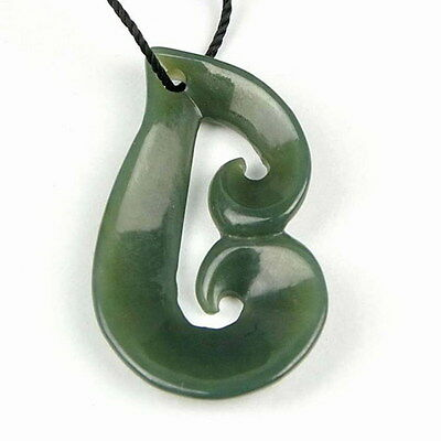Hand Carved Natural Nephrite Jade Koru Harmony Pendant Necklace NZ Maori Carving