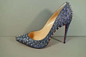 designer fashion fe835 bcbfe Details about LOUBOUTIN 39/8.5 Denim Silver FOLLIES SPIKES 100 LAME Point  Toe Pumps Heels NEW