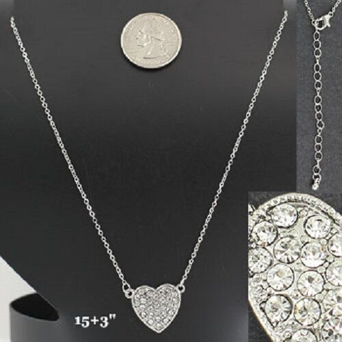 Heart Crystal Love Valentine Girlfriend Wedding Prom Wife Gift Necklace #339-C