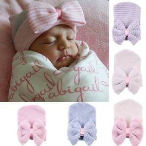 b8ef7684f8b8 Cute Newborn Baby Infant Girl Toddler Comfy Bowknot Hospital Cap ...