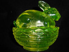 Vaseline glass bunny rabbit uranium on nest basket dish easter green candy dish