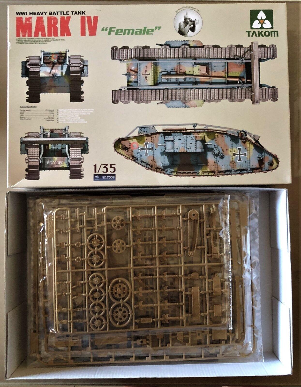 TAKOM 2009 - Mk.IV FEMALE  WWI HEAVY BATTLE TANK - 1 35 PLASTIC KIT  livraison gratuite et rapide disponible