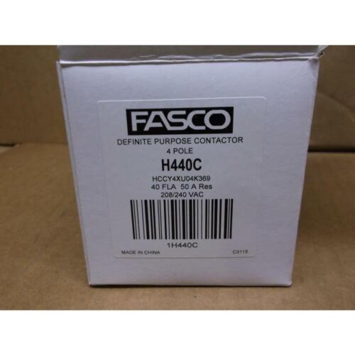 FASCO HCCY4XU04K369 4 POLE 40 AMP CONTACTOR COIL:208//240 VAC 600VAC.MAX