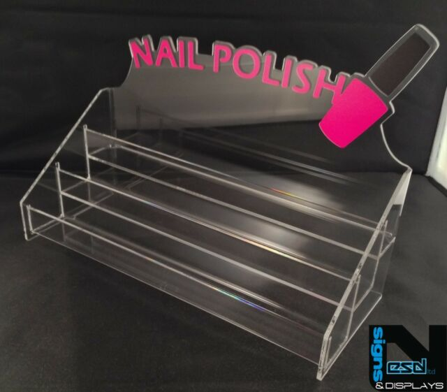 NAIL POLISH ACRYLIC DISPLAY STAND WITH HEADER HOLDS APPROX 30 BOTTLES