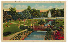 1937 postcard-Landscaped Sunken Garden and Electric Fountain in Hershey Park, Pa