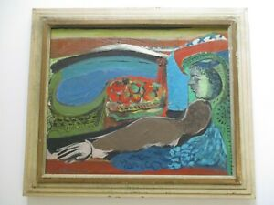 HAROLD LAURENCE GREGOR OIL PAINTING MID CENTURY ABSTRACT SURREALISM MODERNISM