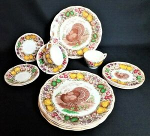 Vintage Barker Bros. for Weil Ceramics Turkey Plates Retired Rare Dinnerware