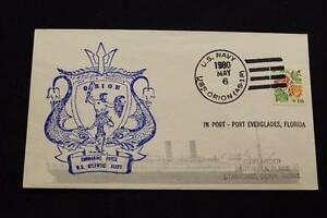 Navale-Cover-1980-Nave-Annullo-Postale-Porta-Everglades-Uss-Orion-AS-18-4312