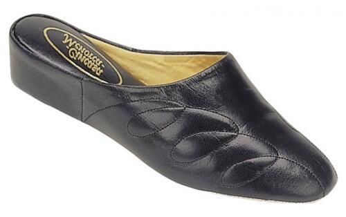 Cincasa Menorca Mesdames femme comfy doux cuir slip on mules pantoufles bleu marine