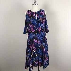 Anthropologie-Maeve-Elia-Cold-Shoulder-Ruffle-Dress-Floral-Sz-4