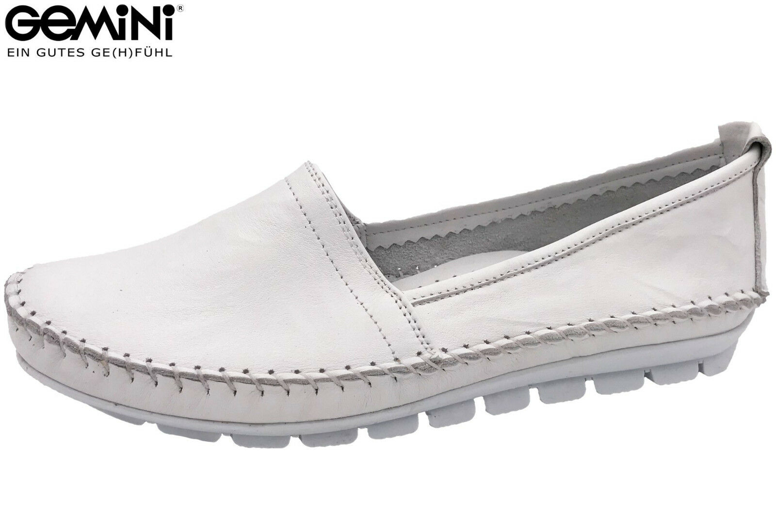 Gemini Damen Slipper Weiß Sommer Schuhe Leder Ballerina 3122-001 NEU