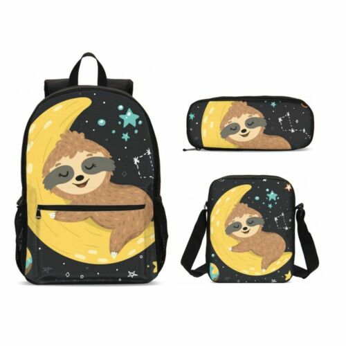 Anime Sloth Print Children School Backpack Set Lunch Bags Sling Bag Pen Case Lot