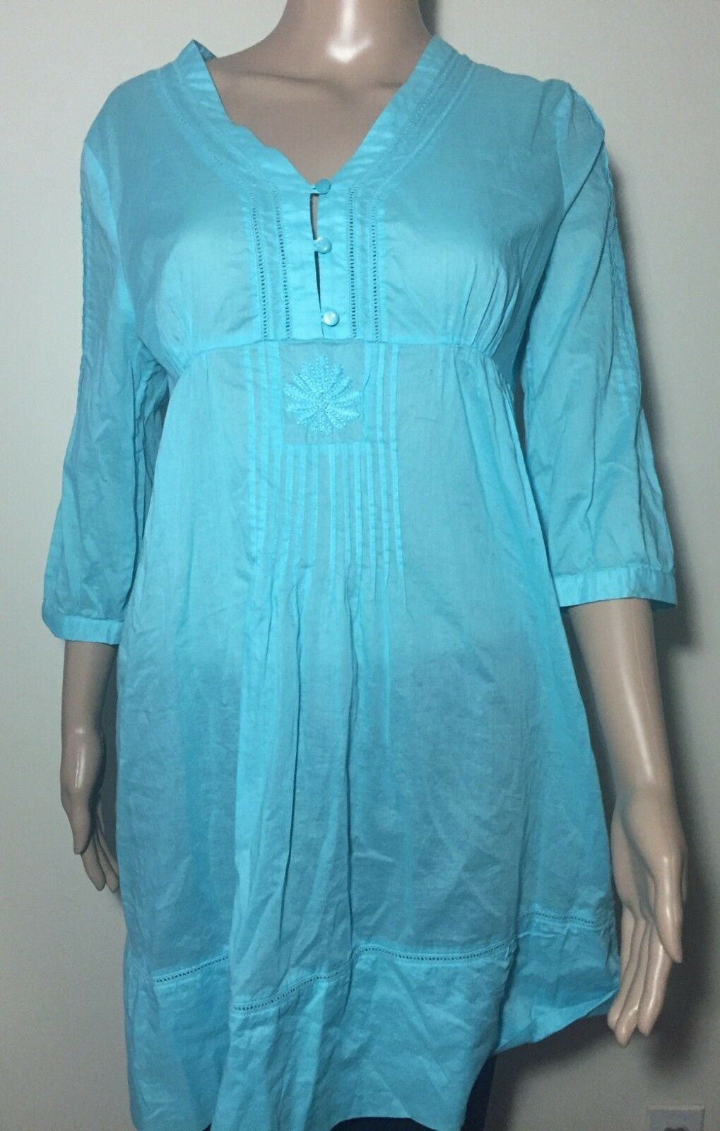Lilly Pulitzer 100% Cotton Turquoise bluee Tunic Beach Dress