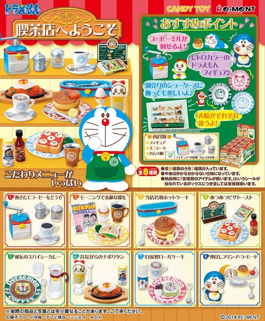 Re-ment Miniatura Japón DORAEMON bienvenido a cafetería conjunto completo de 8 piezas