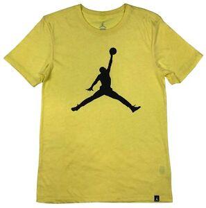 Air-Jordan-Mens-Big-Iconic-Jumpman-Logo-Graphic-Shirt-Yellow-New