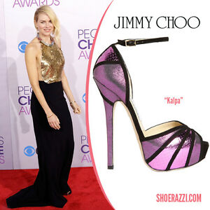 Jimmy Choo Kalpa Purple Snakeskin Shimmer Black Ankle Strap Sandals Shoe 00+