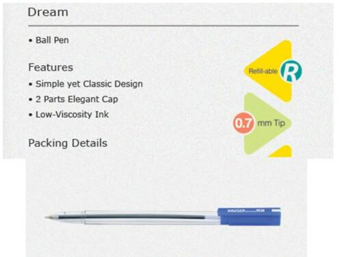 5x Hauser DREAM Ball Pen BLUE0.7mm|Smooth Writing Low-Viscosity Ink