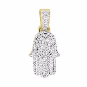 Real diamond hamsa hand pendant 10k yellow gold 055ct good luck image is loading real diamond hamsa hand pendant 10k yellow gold aloadofball Choice Image
