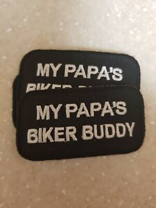 Kids Biker Patch My Papa S Biker Buddy Girls Boys New Nice Ebay