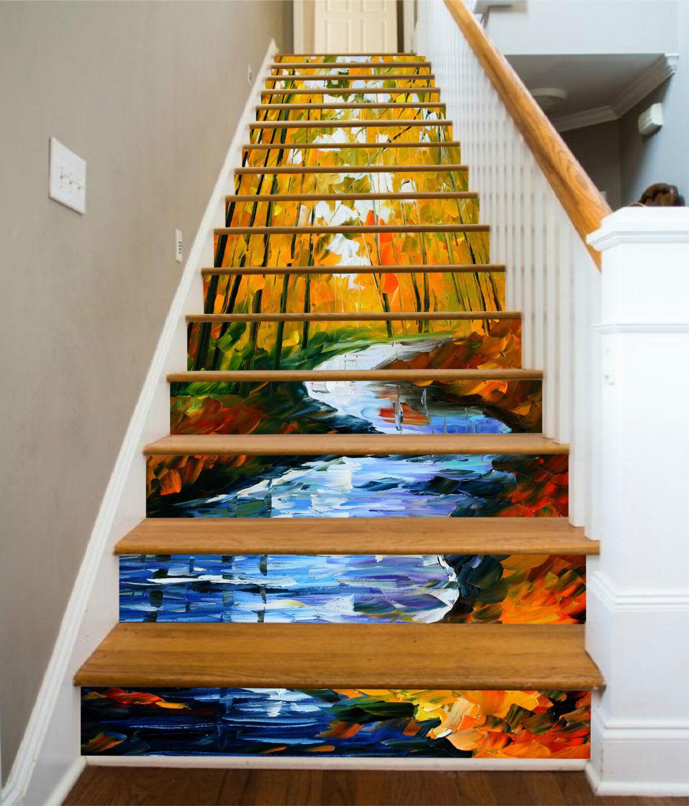 3D Fluss Gemälde 26 Stair Risers Dekoration Fototapete Vinyl Aufkleber Tapete DE