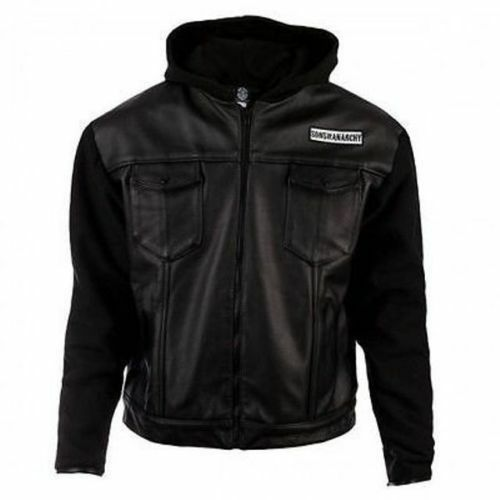 All Sizes Available SOA Sons of Anarchy Hooded Real Leather//Faux Leather Jacket