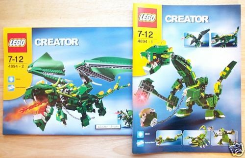 Lego Creator 4894 Dragon Dinosaur Scorpion Instruction Manual Book