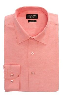 Pink Coral Tailored Slim Fit Mens Dress Shirt Wrinkle Free Spread Collar By AZAR