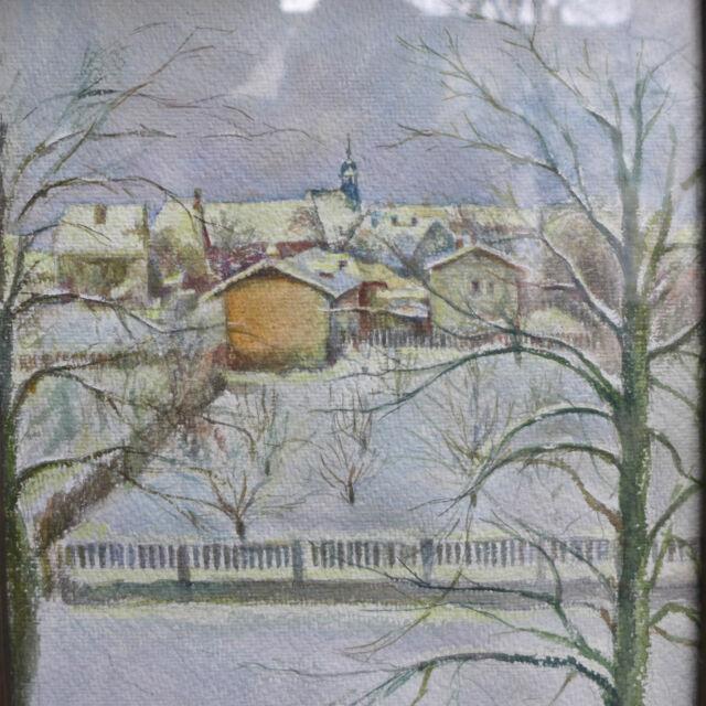 Aquarell Oberursel 1945 signiert F. Enlen 45 bez. Füllerstraße Hospitalkirche