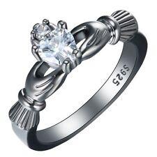 Fashion Women White Sapphire Claddagh Ring 925 Silver Wedding Jewelry New Size 6