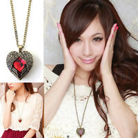 Red Crystal Heart & Angel Wings 26.5 Long Chain Antique Bronze Necklace Pendant